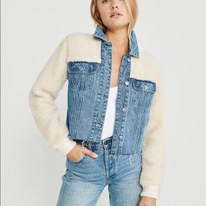 Cropped & Oversized Sherpa Denim Jacket